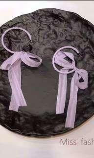 蝴蝶結耳環-紫