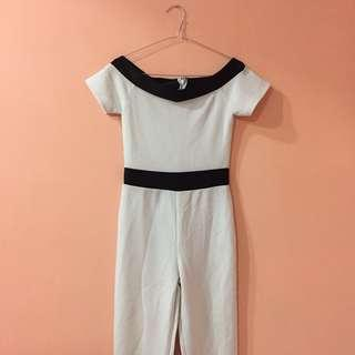 White off shoulder sabrina long Jumpsuit