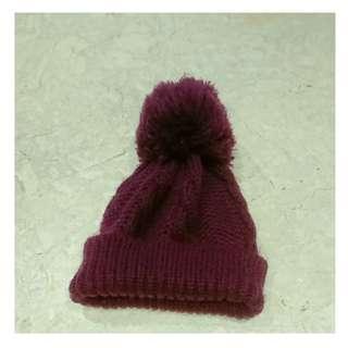 深紫色毛帽