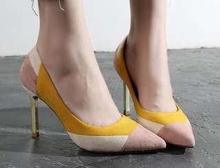 拼色尖頭高高踭鞋