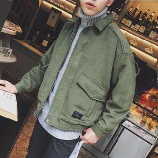 🚚 翻領 麂皮絨 古著 工裝外套 落肩夾克