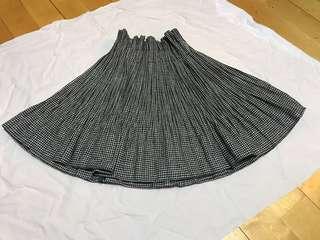 韓國黑白千島格高腿裙