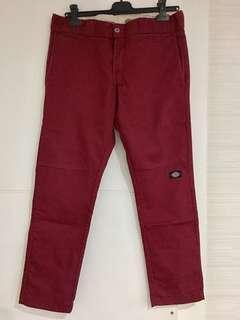 Dickies 棗紅色窄身布褲