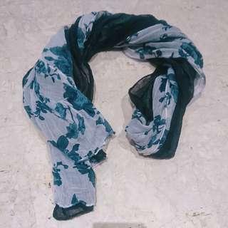 雙色花朵圍巾