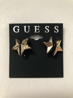 Guess Crystal Double Star Earring in Gold