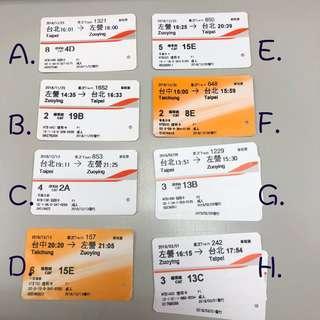高鐵票根 台灣高鐵 高鐵票 台北 台中 高雄左營