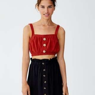Pull and Bear Crop Top with Buttons