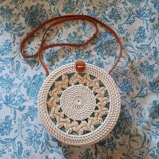 White Double Braid Rattan Bali Bag