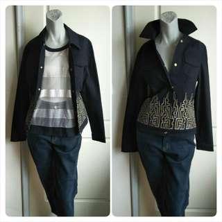 🚚 【tʃiʃi】80.90年代Highlike鑽飾線繡圖案黑色長袖薄夾克外套-38號