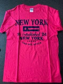 T Shirt NY New York 粉紅 M碼
