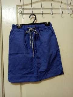 正韓  韓製 綁帶 鬆緊 藍色 裙