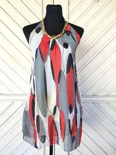 Imported Printed Dress with Gold Chain