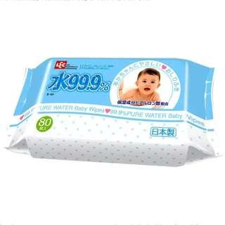 🚚 LEC 99.9% Pure Water Baby Wipes (3 x 80 Pieces)