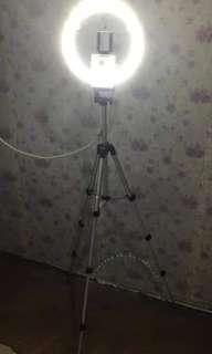 Ring light with tripod and cp holder for sale