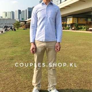 男裝淺藍直條恤衫襯衫