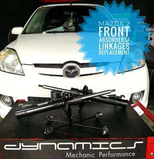 Mazda 2:  Front_Absorbers / Stoppers / Linkages