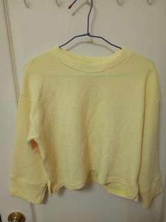 正韓 短版 黃色 上衣