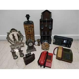 SALE - Collection Of Antique Clocks, Telephones & Others