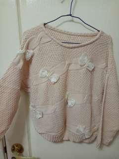 正韓 蝴蝶結 粉色 毛衣 針織衫