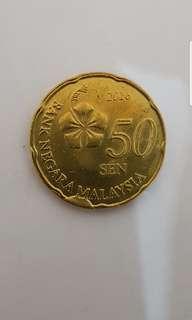 Malaysia 50 cents error coin