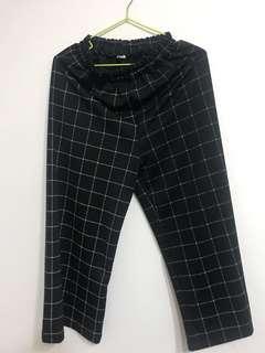 🚚 格子寬褲 二手 黑色 M號