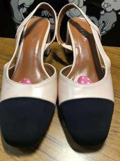 Nude/black block heels Size 6