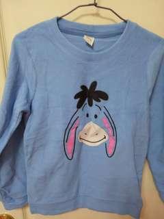 迪士尼 聯名款 fleece 上衣 藍色 維尼 伊唷