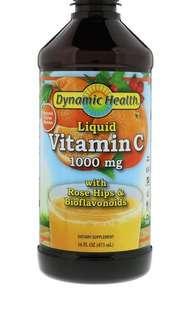 🚚 Dynamic Health Liquid Vitamin C 1000mg with Rose Hips and Bioflavonoids, 473ml