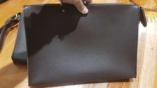 Clutch tas bag leather coklat brown keren elegant unisex bisa cewe cowo buat kerja jalan2 stock 2 pcs