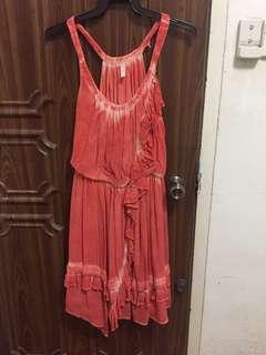 free people orange ruffle drape dress