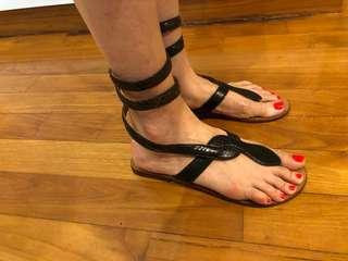 Flat almost gladiator leather sandals sz 38