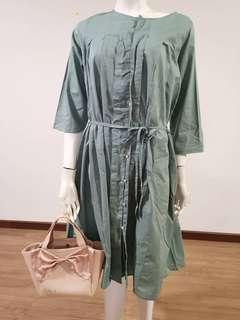 Japan imported high quality jade green dress