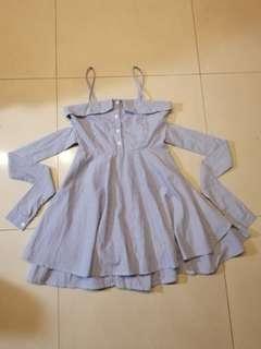 🚚 全新 韓版綁帶條紋A字洋裝