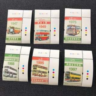 香港郵票 2013年 香港巴士。郵票連角位尾尾