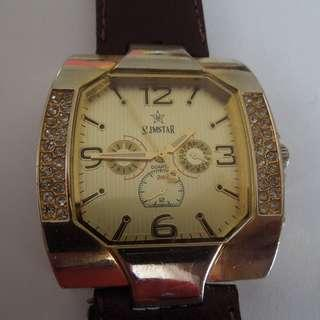 Slimstar Large Square Gold Plated Dial Watch
