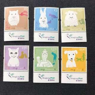 香港郵票 兒童郵票 2013年 寵物與我 郵票連票尾 附有郵政局標誌