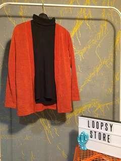Turtleneck & orange cardigan