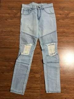 Tank Ripped Biker Jeans