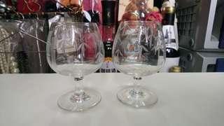 批花玻璃小酒杯2隻