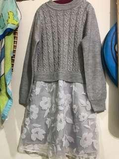 🚚 H2O針織蕾絲拼接一件式長袖灰色氣質洋裝