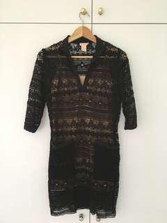 Collette black lace short dress/tunic top