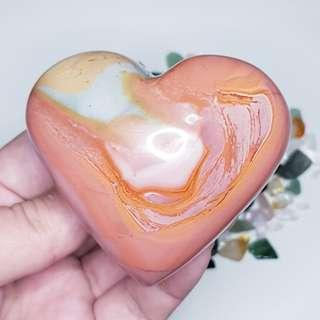 🚚 Thick and Juicy Polychrome Jasper Heart for Healing and Stress Relief