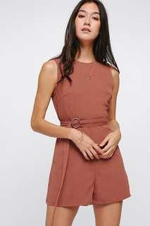 Love Bonito Peregrine D-Ring Playsuit in Rust Size M