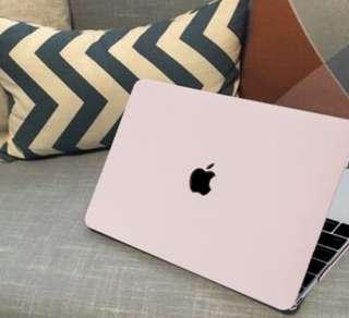 💻INSTOCKS💻MacBook Apple Laptop Hardcase Protective Shell Hardcover Clip On Blush Pink Black Casing