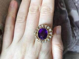 古董鑽石紫晶介子 Vintage huge amethyst diamond ring 14k