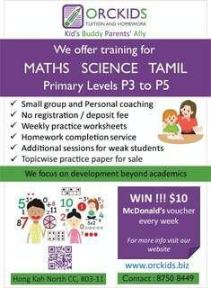 Primary 3, Primary 4 & Primary 5 Maths, Science and Tamil tuition (ORCKIDS Tuition & Homework)