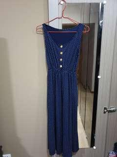 🚚 Polka dot Blue Long Dress