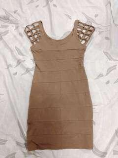 Light Brown Dress with Caged Sleeves #makespaceforlove