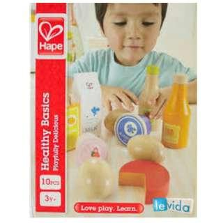 Brand New Hape Healthy Basics Kid's Wooden Play Kitchen Accessories Food Set - Germany Brand Non Toxic Quality Guaranteed