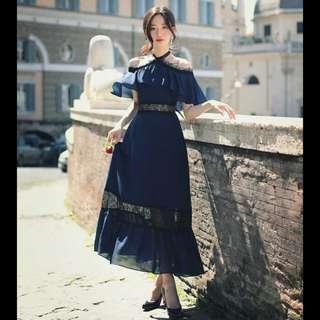 🆕 Navy off shoulder lace maxi dress